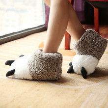 New Arrival Autumn Winter Warm Home Paw Plush Slippers Thermal Soft Cotton Animal Bear Claw Slippers IndoorFloor Flat Shoes