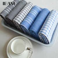Alta calidad 100% paño de algodón para vajilla Plaid pano de prato respetuoso con el medio ambiente toalla de cocina a granel toalla de té lotes de estropajo 3 unid/set OEM