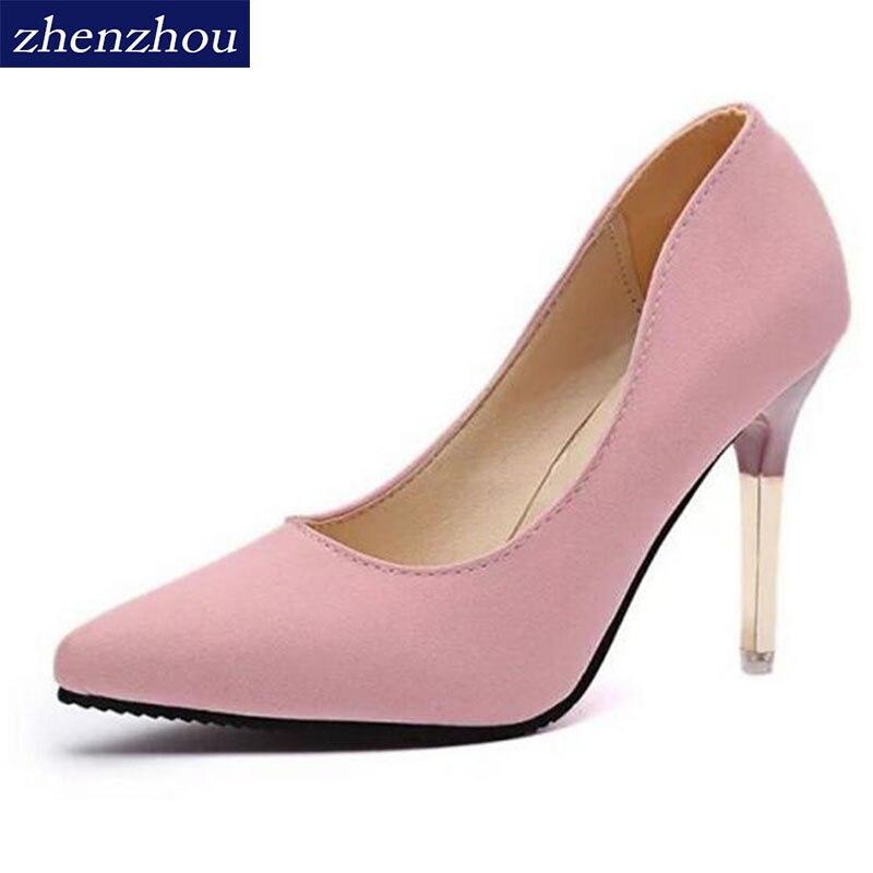 2015 yaz zarif ol tek ayakkabı sığ ağız sivri burun yüksek topuklu ayakkabılar ince topuklu seksi pembe kadın yüksek topuklu ayakkabılar