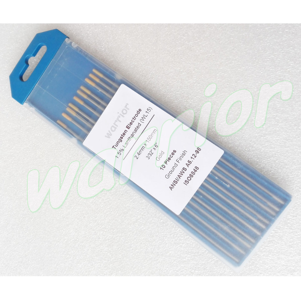 10pcs//set TIG Welding Tungsten Electrode Gold WL15 1.5/% Lanthanated Equipment