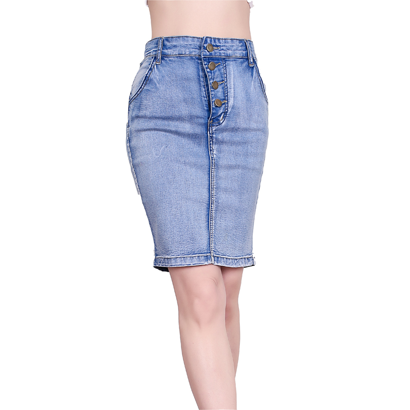 4a1a0b84e59 Detail Feedback Questions about Jeans Skirt High Waist Women Button Down  Pleated Denim Skirts Knee Length Fashion Pencil Skirt Summer Sexy Skirts  Light Blue ...