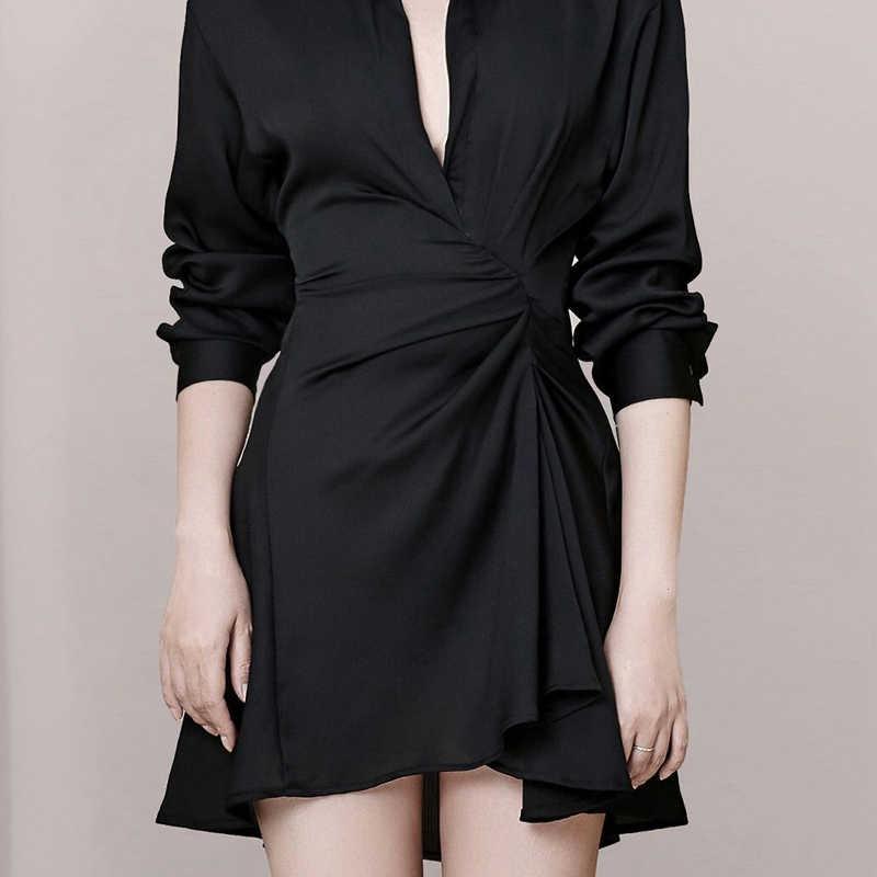 INDRESSME 2019 новое женское черное модное платье с глубоким v-образным вырезом и длинным рукавом, узкое асимметричное OL стильное мини-платье с оборками, а-образное офисное женское платье