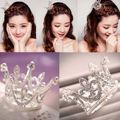New Super Mini Circle Round Pearl Crowns Silver Plated Clear Rhinestone Kids Bridal Party Crowns Hair Accessories