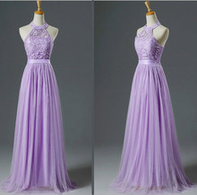 10068cf695 Fashion Design Halter Pink Bridesmaid Dress Lace net Light Purple  Bridesmaid Dresses LC250M(China)