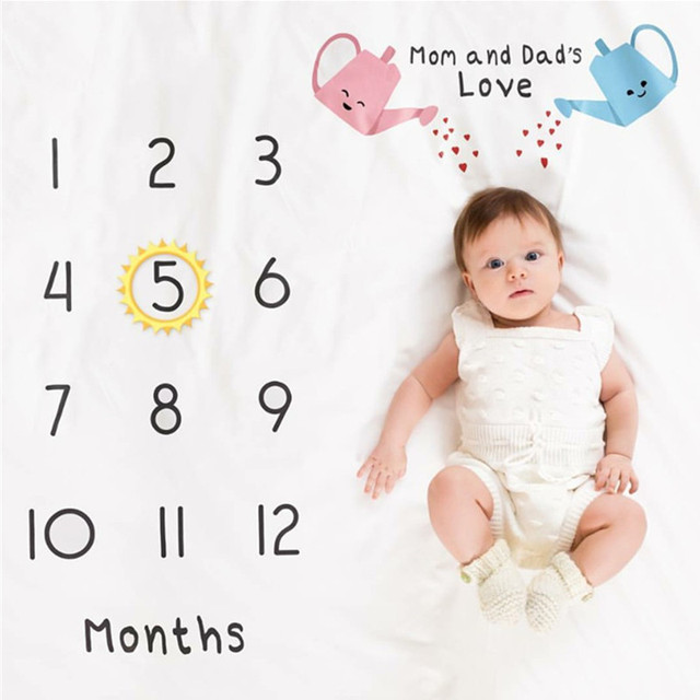 41d32912c Infant Baby Milestone Blanket DIY Photo Photography Props Newborn Flower  Letter Printed Monthly Growth Blankets Backdrop Cloth