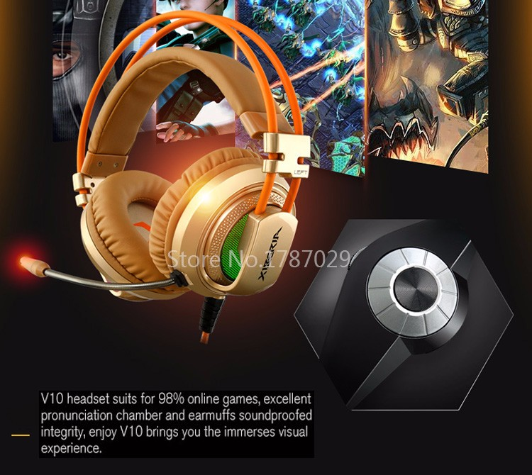Best Computer Gaming Headset Headband with Microphone Mic XIBERIA V10 Heavy Bass Stereo Game Headphone Light for PC Gamer (10)