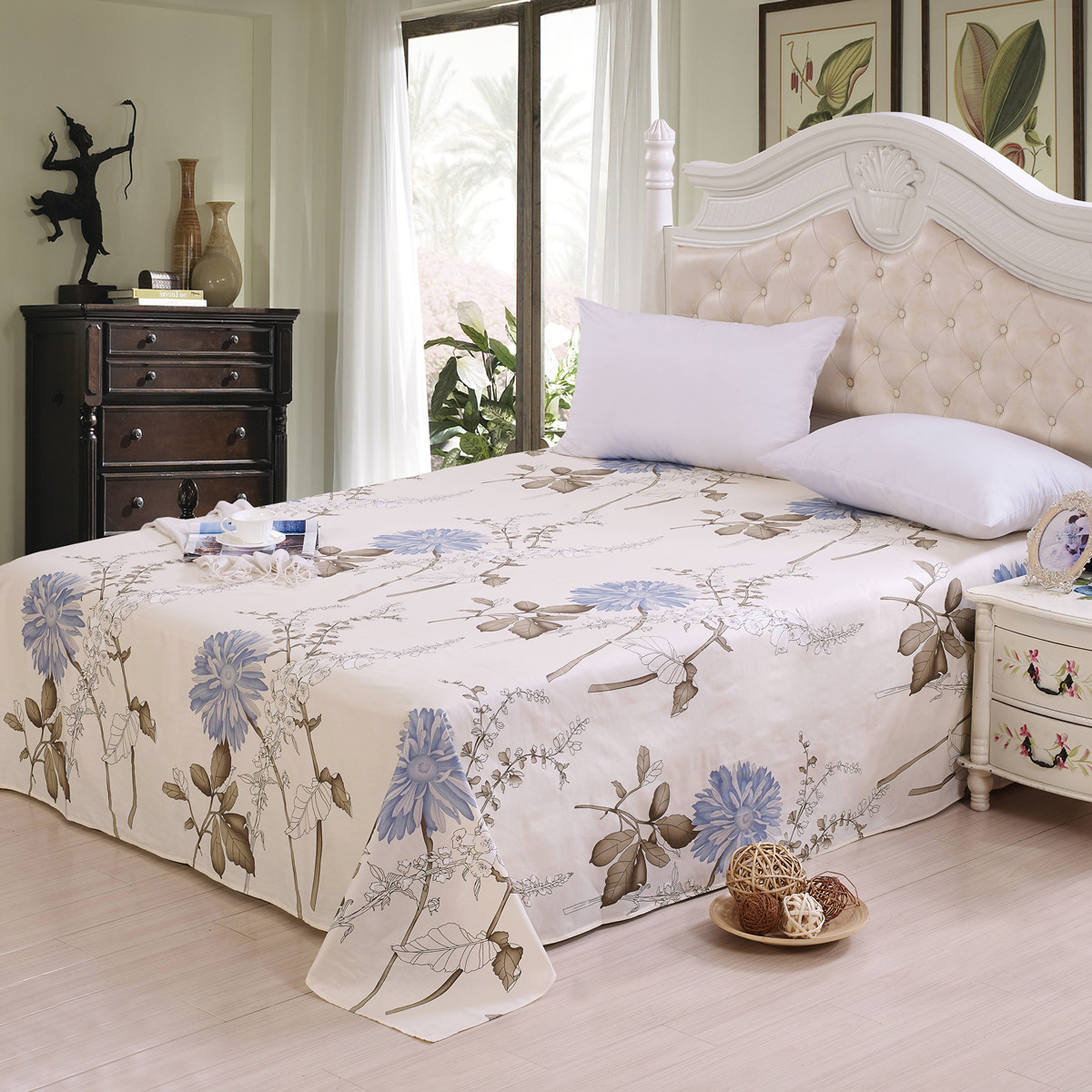 Polyester Bed Linen Flat Bed Sheet Set Pillowcase Pure cotton bed sheet cotton single double 1.2/1.5 / m dormitory Duvet Cover