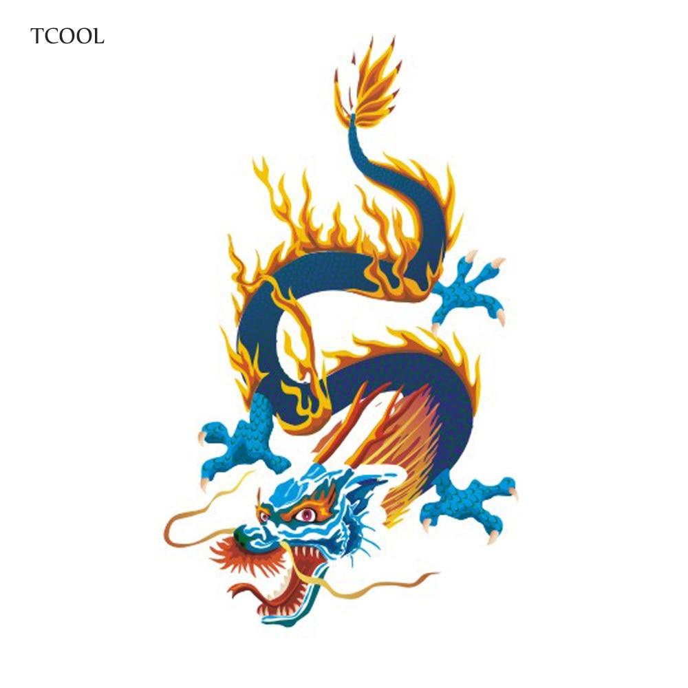 HXMAN Dragon Women Temporary Tattoo Sticker Waterproof Fashion Fake Body Art Animal Arm Tattoos 10.5X6cm Kids Hand Tatoo A-043