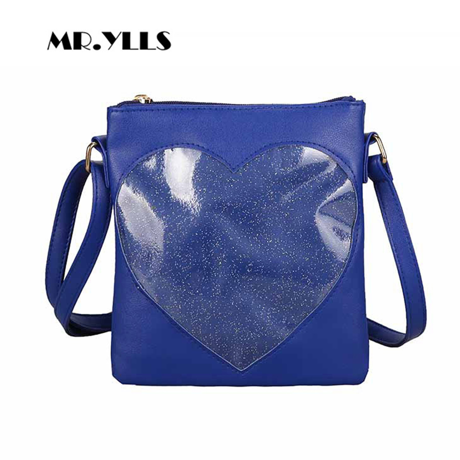 Cute Clear Transparent Heart Women Messenger Bag Kawaii Teenage Girls  Single Shoulder Bags High Quality PU Leather Ita Bag Bolsa