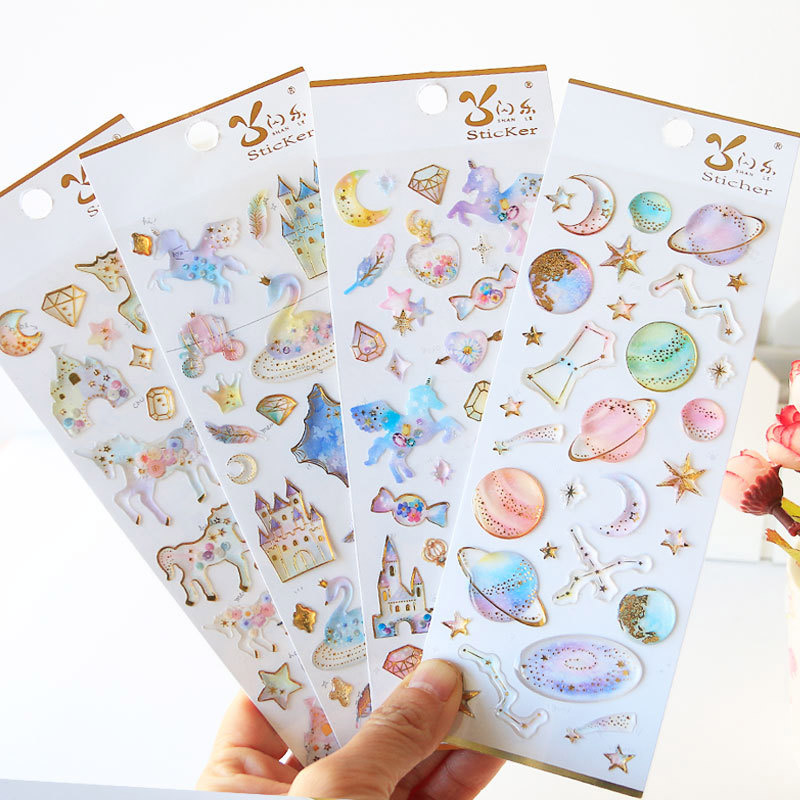 Unicorn Planet 3D Stickers Crystal Diary Decoration Stickers For Phone DIY Scrapbooking Kids Stationery Stickers School Supplies