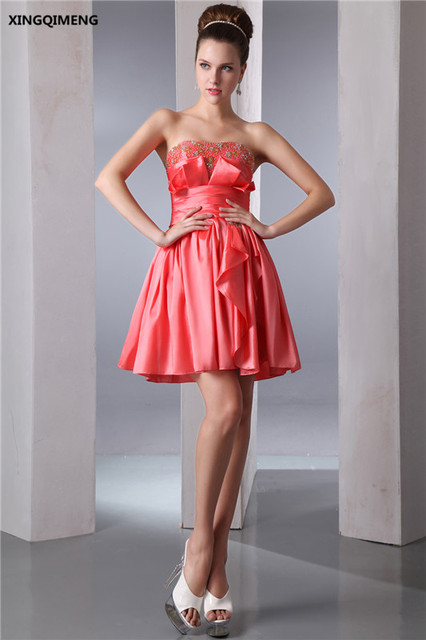 Hot Pink Sexy Strapless Mini Cocktail Dresses Above Knee Elegant