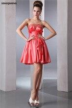 Hot Pink Sexy Strapless Mini Vestidos de Cóctel Por Encima de La Rodilla Elegante Vestido de Cóctel Rebordear Cortos Vestidos Formales Del Partido Del Vestido