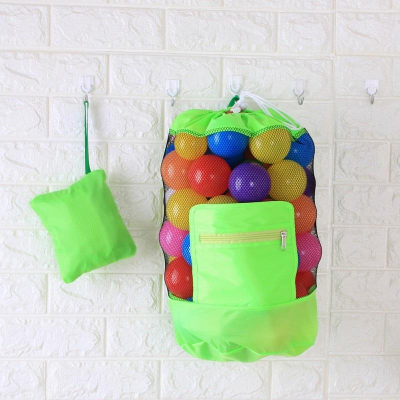 Beach Backpack Large Mesh Beach Bag Folding Pool Toys Backpack Durable Drawstring Sack Swim Pool Toys Storage Bags