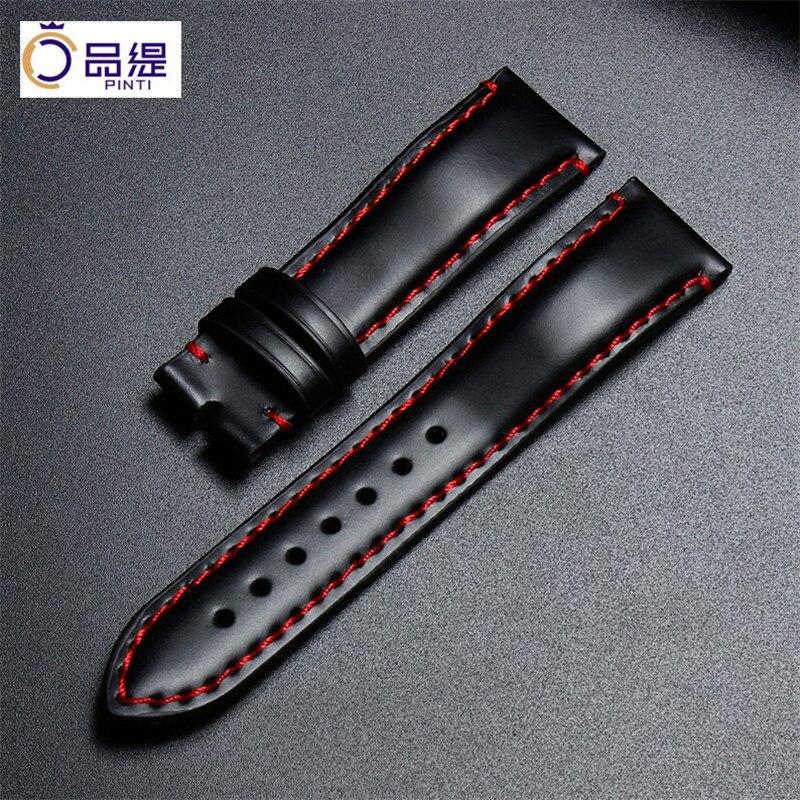 Top Quality Hand-sewn Cordovan Leather Watchband 20mm Red Stitched Shinki-Hikaku Original Cordovan Strap For Deepsea Free Ship
