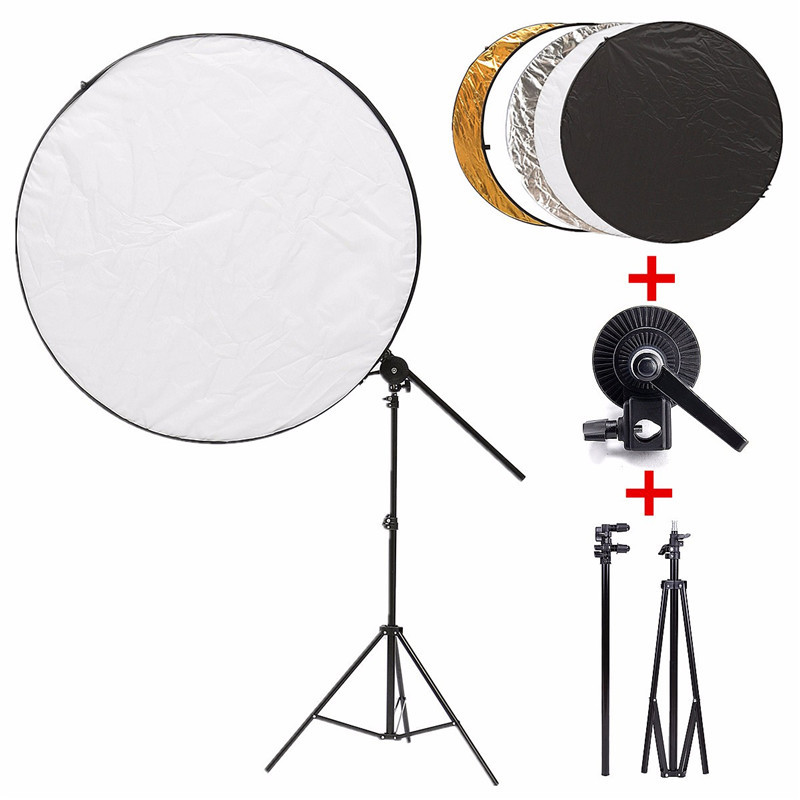 5 in 1 108cm Portable Collapsible Light Round Photography Reflector Disc +Bracket Arm + Light Stand + Clip Studio Photo Kit set