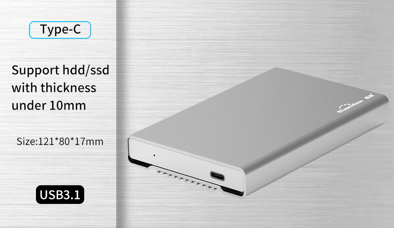 usb 3 1 type C hdd enclosure full metal aluminum hard drive caddy 2 5  external hard disk cover case for sata hdd ssd blueendless