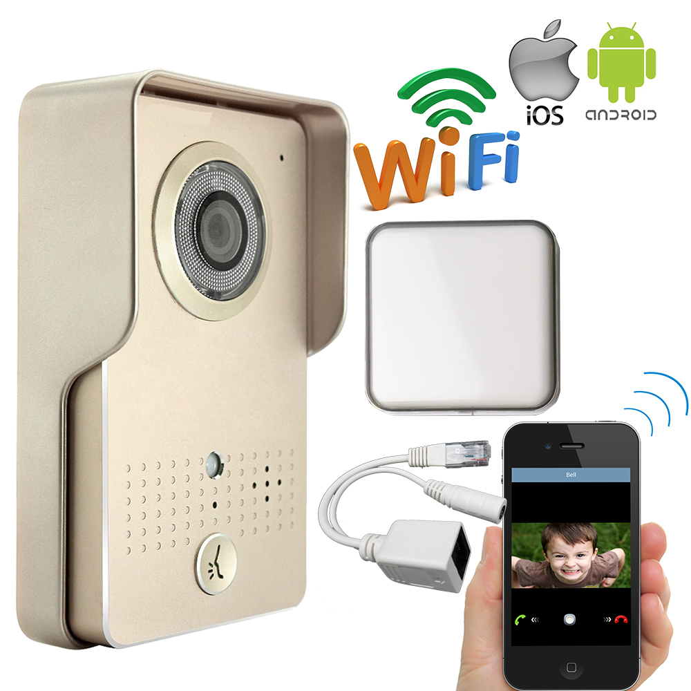 Free Shipping POE Waterproof Wireless Wifi Doorbell Camera for Android IOS Phone Remote View Unlock Video Intercom + Indoor Bell jcsmarts rfid access wireless wifi ip doorbell camera video intercom for android ios smartphone remote view unlock with sd card