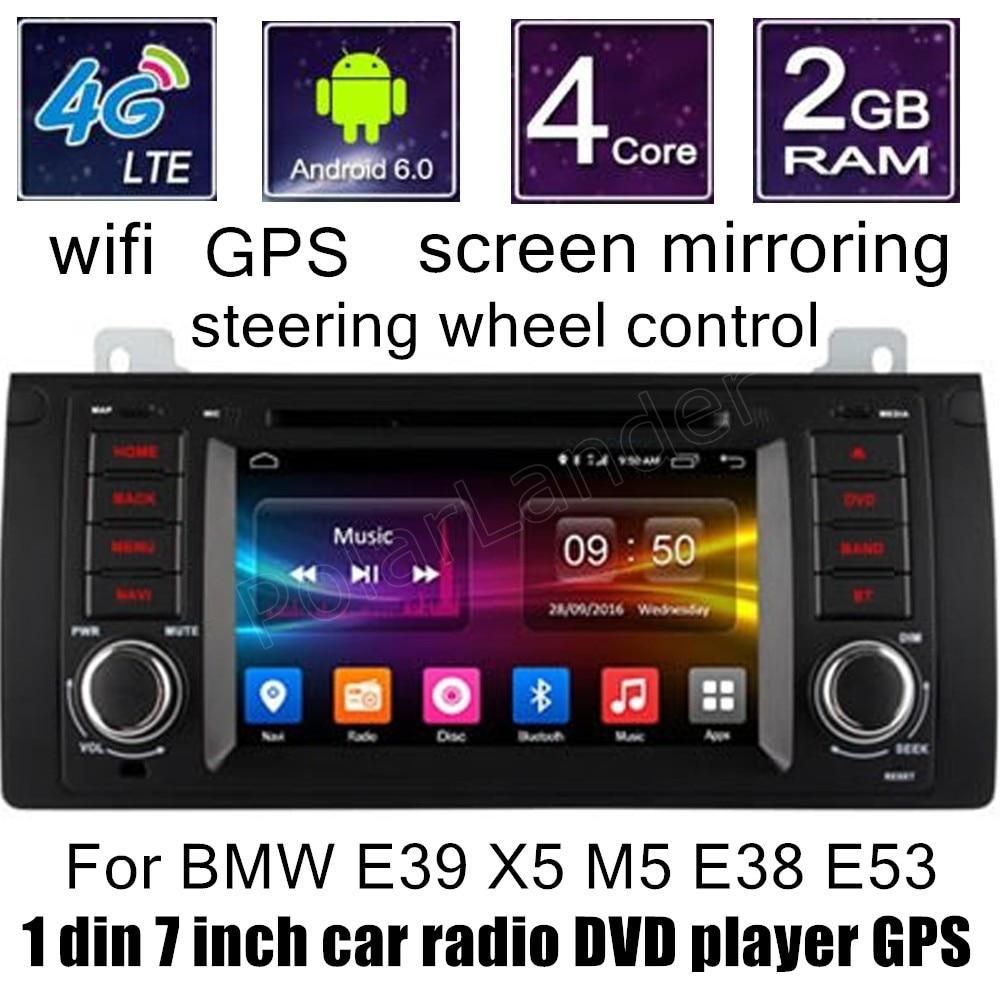 Lecteur DVD de voiture HD 1024X600 Android 6.0 pour B/MW E39 X5 M5 E38 E53 Radio GPS Quad Core WIFI écran miroir