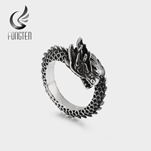 купить Fongten Retro Dragon Ball Ring Men Black Gold Stainless Steel Viking Fashion Vintage Ring Biker Men Costume Accessories Jewelry дешево