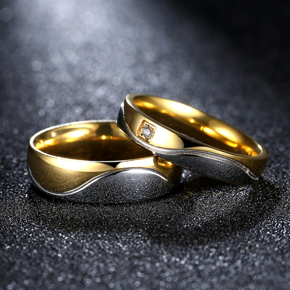aliexpress : buy fashion gold color wedding pair rings set for