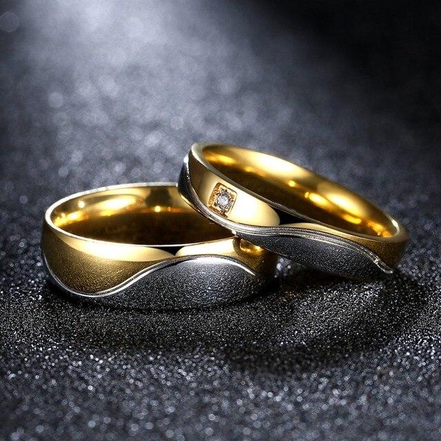 Fashion Gold Color Wedding Pair Rings Set For Men Women Rings
