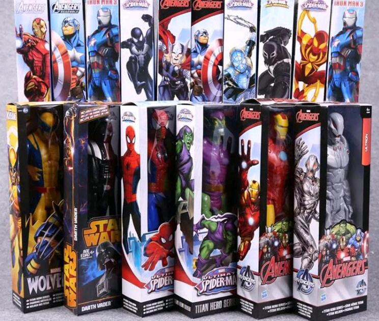 1pc  super Hero 12 inches 2019  Marvel the Avengers Wolverine Figures PVC Toys Spider man Iron Man Thor action toys for boys kayak suit