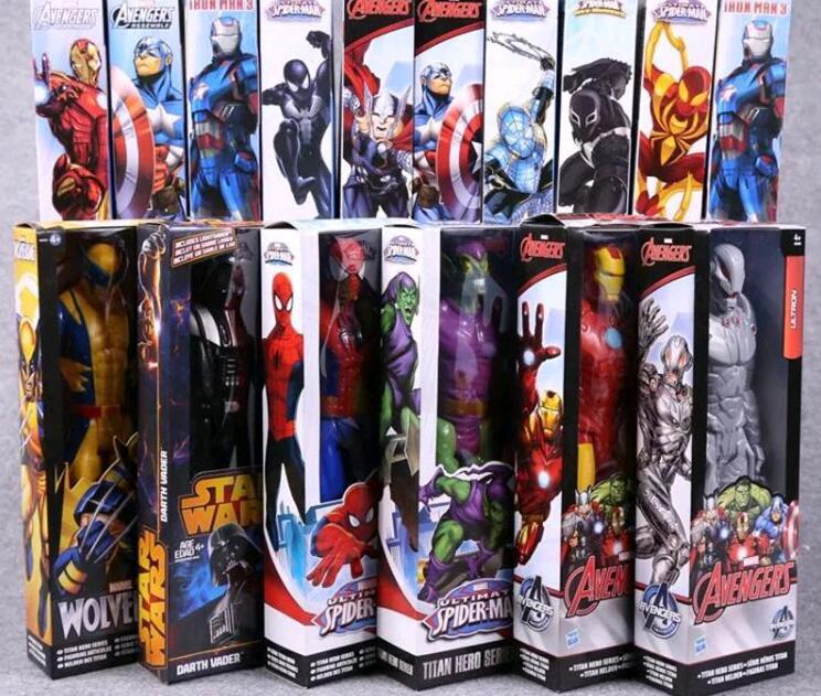 1 pc super Hero 12 pouces 2018 Marvel the Avengers Wolverine Chiffres PVC Jouets Spider man Iron Man Thor action jouets pour garçons