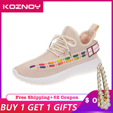 Koznoy Sneakers Women 2019 Air Permeable Mesh Leisure Shoes Dropshipping Ins Student Flat Bottom Breathable Fashion Women Shoes
