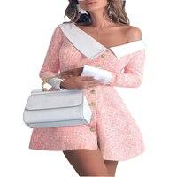 2018 Sexy Clubwear Party Dress Slash Neck Women Winter Dresses Elegant A line Buttons Blue Pink Office Work Wear Dress