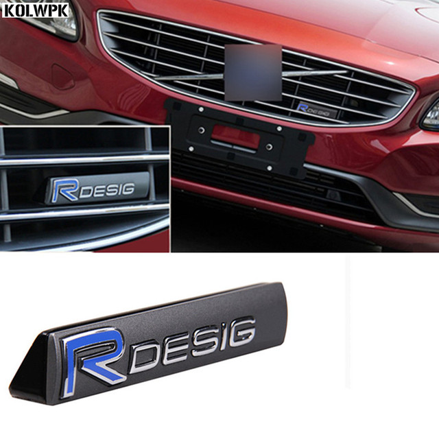 R design 3d metal sticker car front grille emblem tail sticker fender emblem car styling for