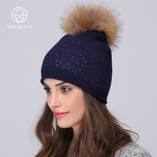 Andybeatty Women s Beanie Fur Pompom Hat Female Winter Hats Sequins Pattern  Beanie For Women Hats Hats 7628c842b64