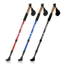 Buy 3 Joints Outdoor Walking Stick Trekking Hiking Stick Poles Aluminum Nordic Sticks Telescopic Camping Climb Tools