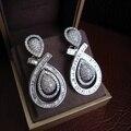 YoGe E7154 AAA Luxo cubic zirconia big bold pesado gota brincos, trapeziform pedra, platinume chapeado