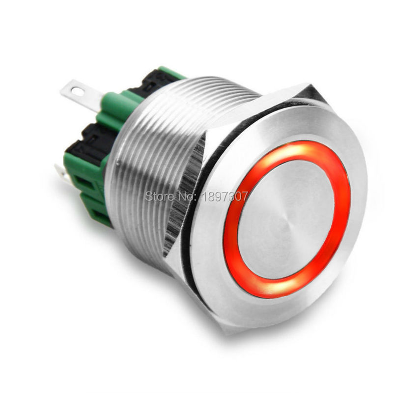 25mm Red Ring LED Metal 6 Pins Self-locking Latching Push Button electric Switch Waterproof 6V,12V,24V,110V,220V befree 1711240224