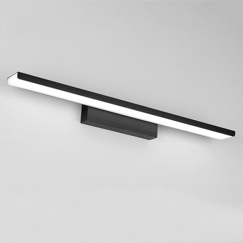 Arany ezüst fekete alumínium tükör első lámpa vezetett fürdőszoba lámpa akril fali szekrény sconce 110V 220V 16W 410mm