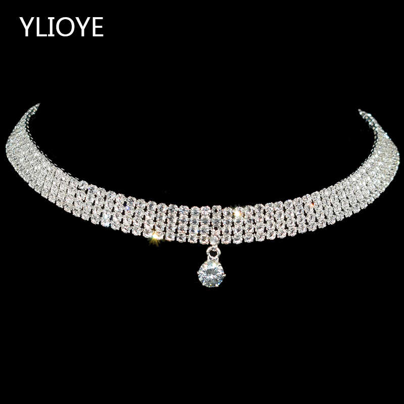 Sparkling Silver Color Crystal Collar Chain Choker Necklace Bridal Women Wedding Party Diamante Rhinestone Choker Jewelry Gifts