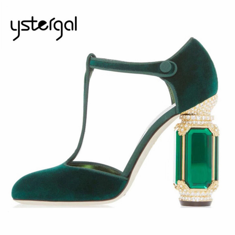 Ystergal Design Crystal Heel Women Pumps Sexy Green Chunky High Heels Velvet Mary Jane Shoes Woman Wedding Dress Shoes StilettoYstergal Design Crystal Heel Women Pumps Sexy Green Chunky High Heels Velvet Mary Jane Shoes Woman Wedding Dress Shoes Stiletto