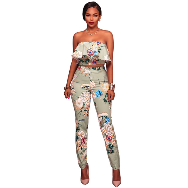 278ac3ac2a2 Boho Elegant Floral Print Jumpsuits Women Ruffles Sexy Strapless Two Piece  Set Ladies Jumpsuit Rompers Summer Long Beach Overall