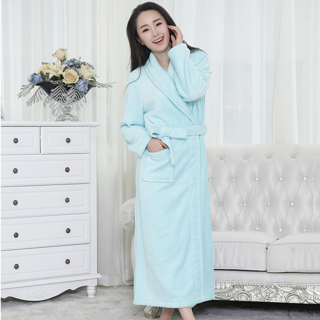 Unisex Women&Men Coral Fleece Loose Long Sleepwear Robes Bathrobe ...