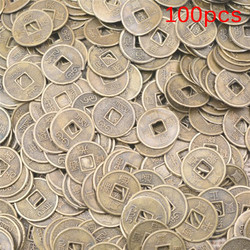100PCS Chinese Ancient Feng Shui Lucky Coin Good Fortune Dragon and Phoenix Antique Wealth Money Collection Gift 10mm
