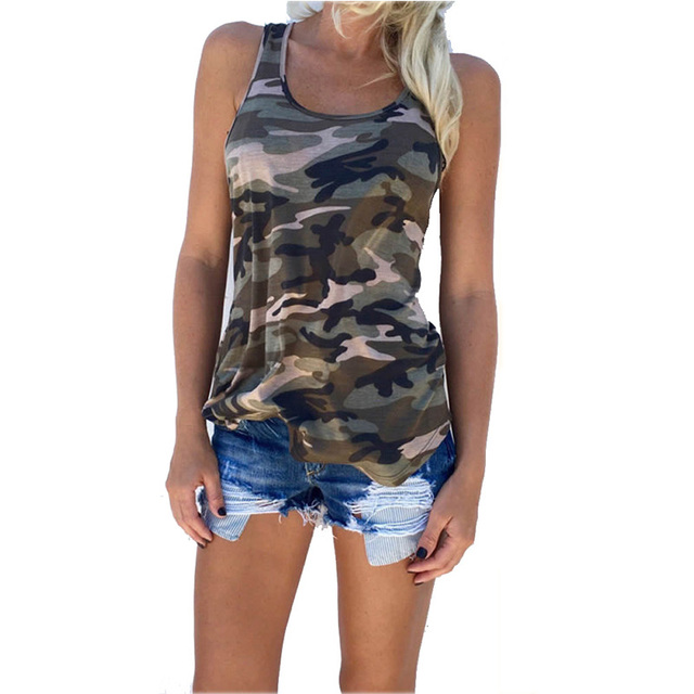 Fashion Women's Summer Tank Tops Camouflage Wild Round Neck Sleeveless Female Blouses Streetwear Casual Vest S/M/L/XL