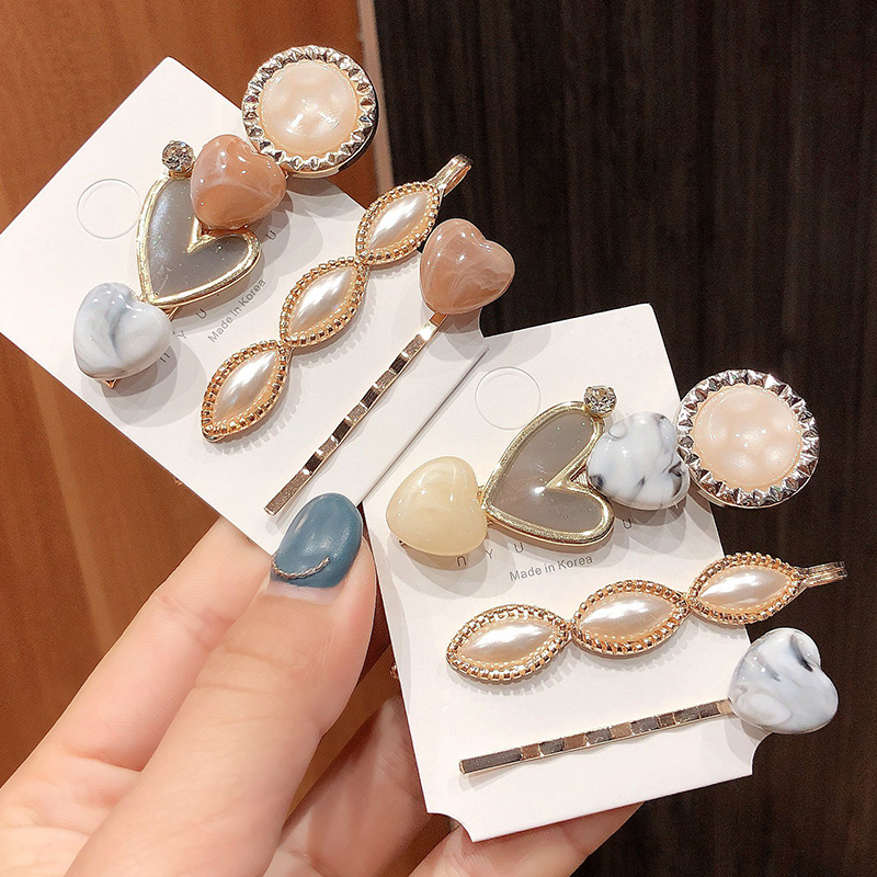 3Pcs/Set Ins Fashion Pearl Metal Hair Clip Hairband Comb Bobby Pin Barrette Hairpin Headdress Accessories Beauty Styling Tools