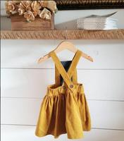 2017 New Arrival Autumn Winter Baby Girls Dress Toddler Sundress Cross Sleeveless Strap Corduroy Dress Yellow