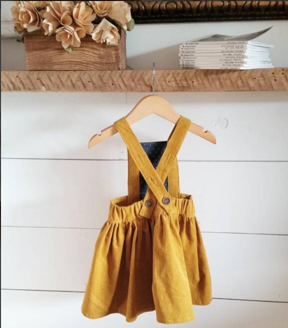 2017 New Arrival Autumn Winter Baby Girls Dress Toddler Sundress Cross Sleeveless Strap Corduroy Dress Yellow Outfits 1-4years muqgew 2018 new arrival baby dress