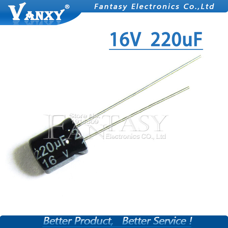 50PCS Higt Quality 16V220UF 6*7mm 220UF 16V 6*7 Electrolytic Capacitor