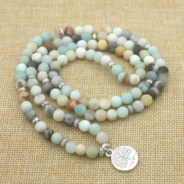 Bracelet Mala Amazonite Givré 108 Perles