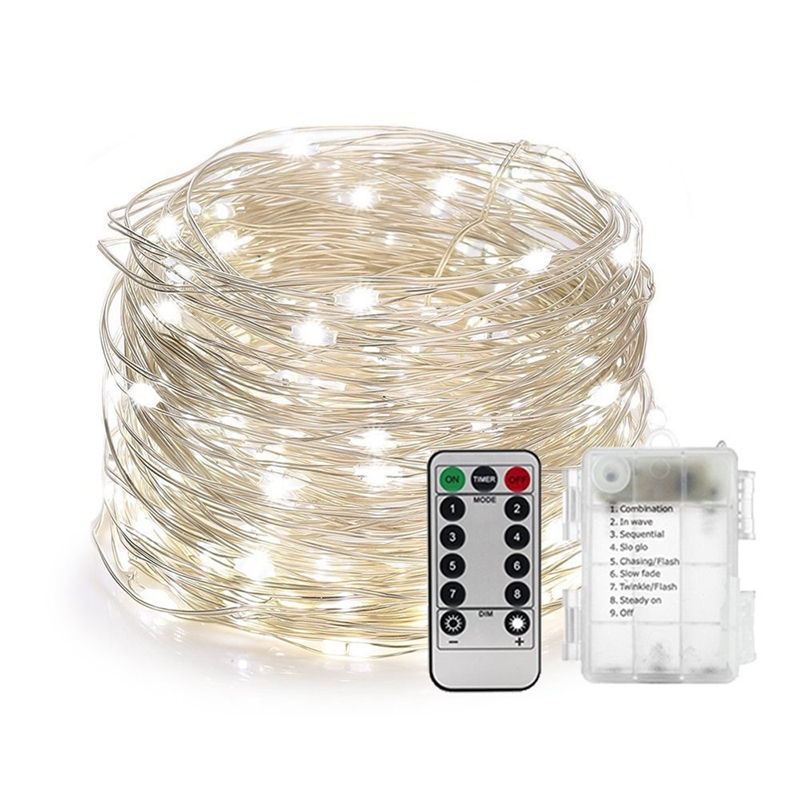 5/10/M Waterproof Remote Control Fairy Lights Battery Operated LED Lights Decoration 8 Mode Timer String Copper Wire Christmas