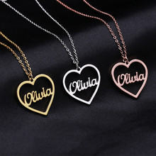 Customize Heart Nameplate Necklace Personalize Name Women Handmade Jewelry Custom Gold Letter stainless steel Chain Bff