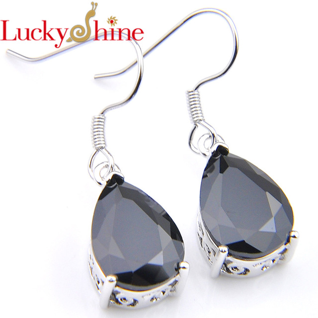 Luckyshine Fashion Jewelry Black Onyx Crystal Zirconia Wedding Dangle Earrings Russia Usa Australia Free Shipping