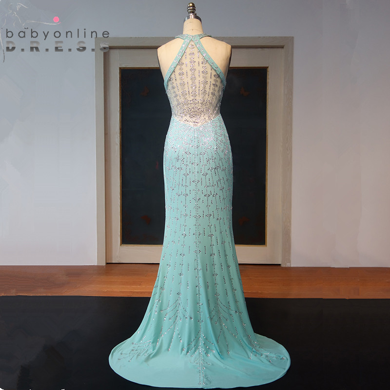 Sexy Transparent Back Halter Neck Mint Green   Prom     Dresses   Long Luxury Beaded Crystals Evening Party   Dresses   wtih Train